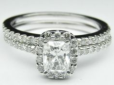 Cushion Diamond Halo Cathedral Engagement Ring with pave diamond band & Flush Matching Wedding Band  - ES433CUBS