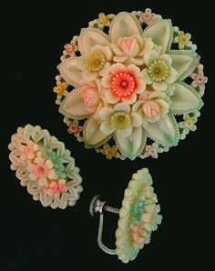Genuine Vintage CELLULOID Brooch Earrings Rose, Daffodil Flowers from yearsafter on Ruby Lane