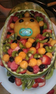 Baby basket out of watermelon and fruit :)