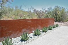 Desert landscaping with metal wall