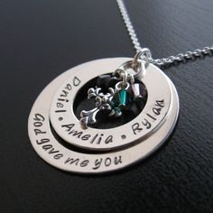 """Jocelyn """"God gave me you"""" personalized necklace with crystals"""