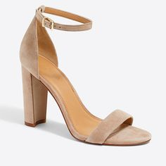 I'm looking for ankle strap, stacked heel sandals like these. I love this heel height! Nude would be great, but I would do color or black as well!
