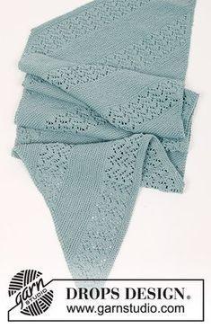 Diandra / DROPS 188-39 - Étole tricotée au point mousse avec point ajouré en diagonale, en DROPS Cotton Merino ou DROPS Sky.
