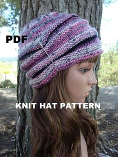 PATTERN #36:  Fun and Sassy Variegated Pink Beehive Knit Hat Pattern - Skill Level Beginner - For Adult/Teen.