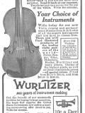 Wurlitzer Violin 1916 Ad. 10 Days Free Trial. Rare Old Violins. Our collection of rare old violins is one of the largest in America. Write today for special Art Catalog. Find illustrated products of the leading violin makers of the world - Farny, Baader, Glier, Heberlein, Fiedler, Wurlitzer and many others. 10 cents a day now buys this superb Lyric Cornet. Send for your 225 page catalog of musical instruments and Catalog of music stands, cases and other stringed instrument accessories.