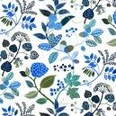 Kinnamark Ingarö Swedish Fabric. Plump navy berries, electric blue blooms and prickly leaves, give this pretty Ingarö fabric a real Scandinavian feel. Betty Svennsson, initially hand paints her fabric designs, now quite rare in the digital age, this gives her prints a gentle, painterly feel. A suitable weight for cushions, curtains and...