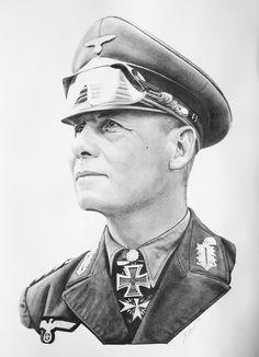Erwin Rommel portrait A3 (30x40 cm) drawing Military Art, Military History, Erwin Rommel, Afrika Korps, Military Tattoos, Pencil Portrait, World War Ii, Wwii, Africa