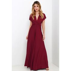Always Stunning Convertible Burgundy Maxi Dress ($58) ❤ liked on Polyvore featuring dresses, gowns, white maxi skirt, long white dress, convertible maxi skirt, long white skirt and long wrap skirt
