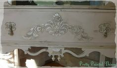 Applying Artists Medium And Appliques On A 1928 China Cabinet Makeover By Pretty Painted Things & Other Things That Make Me Happy - Featured...