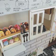 Lounge/ダイソー/ナチュラル/100均/ハンドメイド/DIY...などのインテリア実例 - 2016-12-22 12:47:46 | RoomClip (ルームクリップ) Pretend Food, Pretend Play, Projects For Kids, Diy For Kids, Diy Kids Kitchen, Diy Donuts, Portable Food, Cafe House, Food Stall