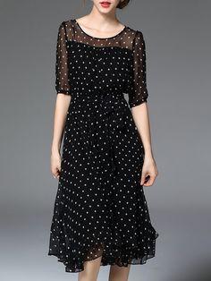 Shop Midi Dresses - Black A-line Printed Crew Neck Half Sleeve Midi Dress online. Discover unique designers fashion at StyleWe.com.