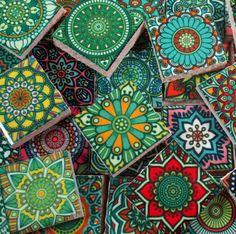 Ceramic Mosaic Tiles - Multi Greens Colors Medallions Moroccan Tile Mosaic Tile Pieces - 35 Pieces /Mosaic Art / Mixed Media Art/Jewelry