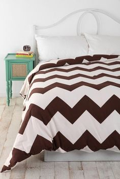 URBAN OUTFITTERS ASSEMBLY HOME CHOCOLATE BROWN ZIGZAG DUVET COVER TWIN XL