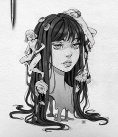 Anime Drawings Sketches, Cool Art Drawings, Fantasy Kunst, Fantasy Art, Pretty Art, Cute Art, Arte Indie, Posca Art, Cartoon Kunst