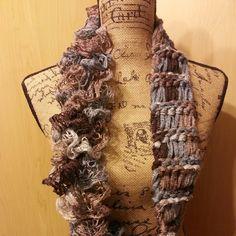 String Theory Fiber Works: Loom Knit Drop Stitch Ruffle Infinity Scarf