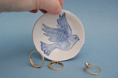 Ring Dish Handmade Dove Jewellery Bowl Blue and by REDceramics, £12.00