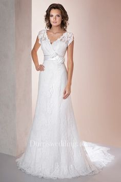 Shop affordable A-Line Long V-Neck Poet-Sleeve Low-V-Back Lace Dress With Appliques And Bow at June Bridals! Over 8000 Chic wedding, bridesmaid, prom dresses & more are on hot sale. Pleated Wedding Dresses, Tulle Wedding Gown, Plus Size Prom Dresses, Bridal Gowns, Short Lace Dress, A Line Gown, Wedding Dress Shopping, Marie, Ball Gowns