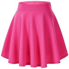 Women's Basic Solid Versatile Stretchy Flared Casual Mini Skater Skirt (34 BRL) ❤ liked on Polyvore featuring skirts, mini skirts, bottoms, stretch skirt, flared hem skirt, pink skirt, mini skirt and skater skirt