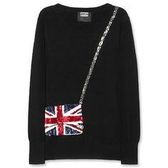 Markus Lupfer Union Jack Bag Sweater - funny and cuuuuuute! Merino Wool Sweater, Wool Sweaters, Elizabeth Ii, Union Jack Decor, Best Designer Bags, Vide Dressing, Markus Lupfer, Party Fashion, Women's Fashion