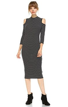 Zoozie LA Womens Cold Shoulder 34 Sleeve Midi Dress Black White M ** Read more  at the image link.