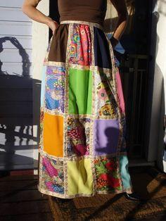 Vintage 1970s Maxi Patchwork Skirt Boho Festival Hippie Skirt