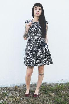 Vestido Tricoline Decote Coração - Estampa de Coração