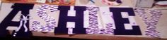 Ashleys letters i made her for xmas. Purple and white zebra