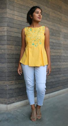 Yellow linen top for women/ Pleated linen top/ Loose top for women/ Made to order/ Custom made Short Kurti Designs, Kurti Neck Designs, Kurta Designs Women, Kurti Designs Party Wear, Blouse Designs, Mode Outfits, Fashion Outfits, Modest Fashion, Creation Couture