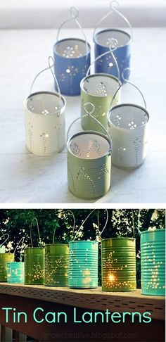 DIY Tin Can Lanterns - one advantage over mason jar lanterns: can put holes in the bottom to let rain water drain out. Less light, though. A combo of the two, with some jars kept in the shed for parties, would be nice.