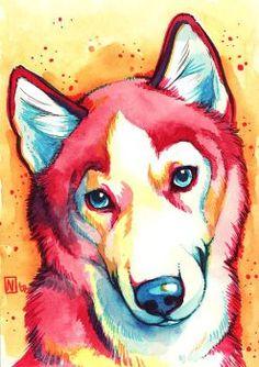 I LOVE this! Amazing portrait of a Husky dog #dogdrawing #dogpainting #huskyart…