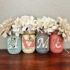 Set of 4 Pint Size Ball regular mouth Mason Jars **Flowers Not Included** These hand painted jars are perfect for your shabby chic decor, farmhouse or rustic home decor. Hand painted to spell out HOME, with the O being replaced with a Montana Outline and an adorable heart on the
