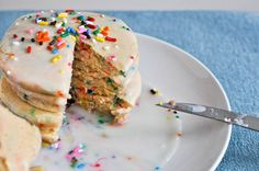 Celebrate with these colorful Cake Batter Pancakes with Sprinkles