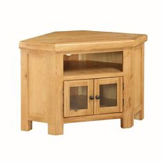 Heaton wooden corner TV stand in solid oak with 2 glass doors and shelf, perfect for any corner place in your living room - 30008 wooden TV stands, TV units, cabinets & wall entertainment units, modern & contemporary.