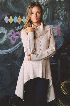 SUPER+FLARE+COWL+NECK+HIGH+LOW+SWEATER