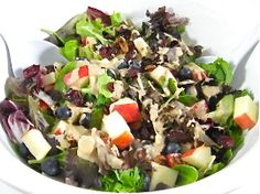 Delectable Skinny Salad with Fruits, Nuts and Cheese-I love this salad and make it several times a week.The skinny for 1 serving is 113 calories, 5.5 grams of fat and 3 Weight Watchers POINTS PLUS.
