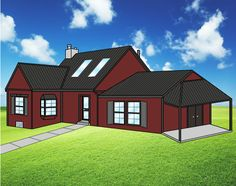 Charcoal Metal Roof with Red Siding and Dark Trim will have any house stand out!