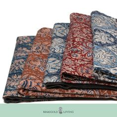 Printed on medium-weight cotton in rich earthy tones, these fabrics also make stunning twin size bedspreads or can be draped over the back of a couch to give a room a decorative flair.