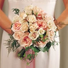 All kinds of bouquet photos - round, cascading, arm bouquets - ideas for every bride! of pictures of centerpieces, corsages, church decor and more. Bridesmaid Bouquet, Wedding Bouquets, Wedding Flowers, Bridesmaids, 50s Wedding, Wedding Ideas, Peach Flowers, Rose Bouquet, Corsage