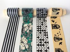 Black Linework Washi Tape Set - If you love black linework, you'll love this visual buffet of various line-based patterns.