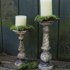 TRustic Turned Wood Pillar Candle Holders