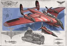 Redesign: Crimson Skies (Carrier heavy fighter) by martydesign ★ || CHARACTER DESIGN REFERENCES (www.facebook.com/CharacterDesignReferences & pinterest.com/characterdesigh) • Do you love Character Design? Join the Character Design Challenge! (link→ www.facebook.com/groups/CharacterDesignChallenge) Share your unique vision of a theme every month, promote your art, learn and make new friends in a community of over 16.000 artists who share your same passion! || ★