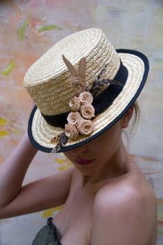Lets go to the Beach Coco Nucifera Straw Skimmer Sailor Hat