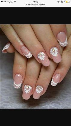 Bridal Nails, Wedding Nails, Mail Art, Manicure, Lace Nails, Cute Nail Designs, Nail Art Galleries, Trendy Nails, Short Nails