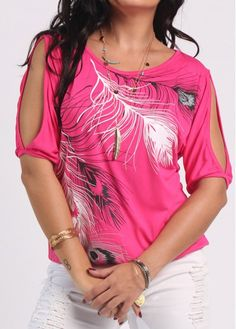 Cold Shoulder Feather Print Watermelon Red T Shirt | liligal.com - USD $25.13