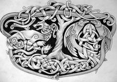 Yggdrasil, huginn and muninn and jormungandr and fenrir #celtic #tattoos