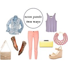 Chambray Denim, Pink, Lavender, Nude, Yellow, Leopard Outfit