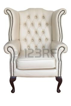 Picture of antique cream leather armchair isolated on white stock photo, images and stock photography. Purple Dining Chairs, Small Table And Chairs, Small Accent Chairs, Living Room Chairs, White Armchair, Swivel Armchair, Cheap Chairs, Cool Chairs, Futon Chair Bed