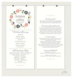 VINTAGE RUSTIC WEDDING Ceremony Program - Monogram Floral Wreath