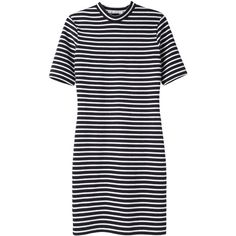 T by Alexander Wang Striped Knit Dress ($133) ❤ liked on Polyvore featuring dresses, vestidos, robes, t by alexander wang, mock neck dress, stripe dress, black stretch dress, stretch knit dress and knit dress