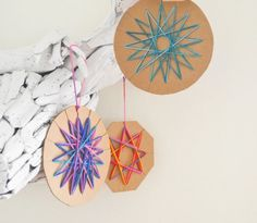 CUTE!! and easy project for kids! -- Yarn Ornament